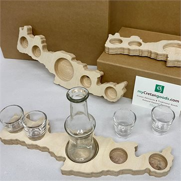 Crete - Wooden Tray - Raki Carafe & Glasses