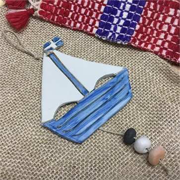 Greek Boat Ornament Handmade Ceramic Gift