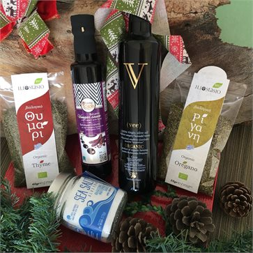 Organic Cretan Products for salads in a Christmas gift set
