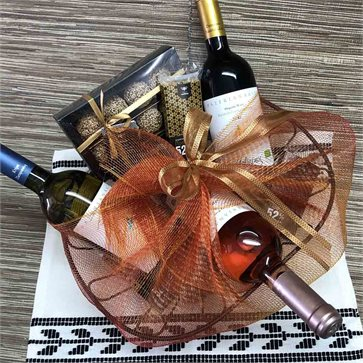 Christmas Gift Basket Melissinos Organic Wines & Honey Treats