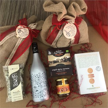 Christmas Gift Bag - ZaZaZu Sparkling Wine and Cretan delies