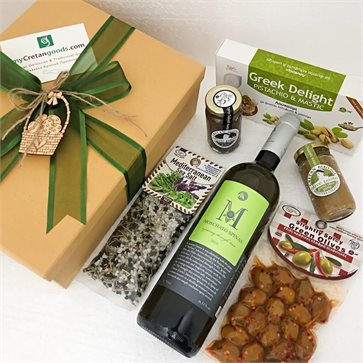 Cretan goodies gift box with Moschato Spinas